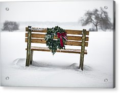 Bench And Wreath Acrylic Print by Eric Gendron