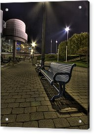 Acrylic Print featuring the photograph Bench At The Rock Hall by Brent Durken