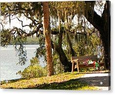 Bench By The Lake Acrylic Print by Rosalie Scanlon