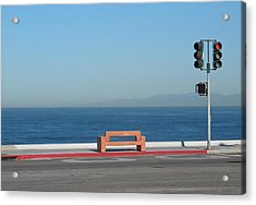Bench By The Sea Acrylic Print
