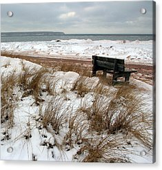 Bench In Winter Acrylic Print