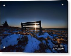 Bench On Top Of Mountain At Sunset Acrylic Print by Dan Friend