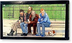 Bench People Series-the Guys  Acrylic Print by Betsy Frahm
