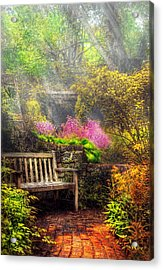 Bench - Tranquility II Acrylic Print by Mike Savad