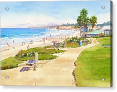 Benches At Powerhouse Beach Del Mar Acrylic Print