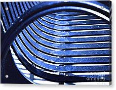 Bending Blue Acrylic Print by Nancy E Stein