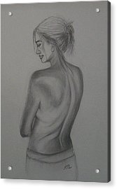 Acrylic Print featuring the drawing Beneath The Surface by Jane  See