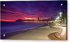 Benidorm At Sunset Acrylic Print by Michael Underhill