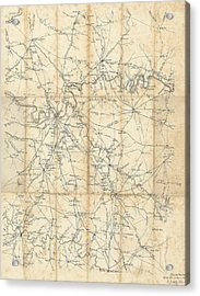 Benjamin F Cheatham Civil War Map Of Nashville And Surrounding Counties  Acrylic Print by Cody Cookston