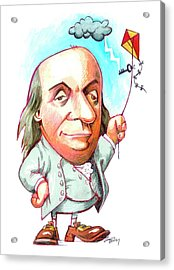 Benjamin Franklin Acrylic Print by Gary Brown