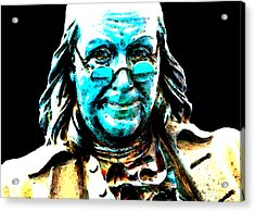 Benjamin Franklin - Historic Figure Pop Art By Sharon Cummings Acrylic Print by Sharon Cummings