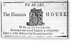 Benjamin Franklin's House Acrylic Print by Granger
