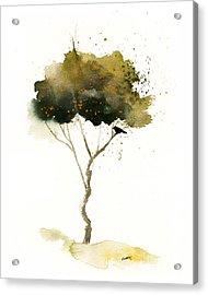 Bent Tree With Blackbird Acrylic Print