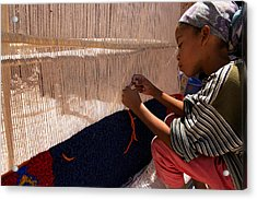 Berber Girl Working On Traditional Berber Rug Ait Benhaddou Southern Morocco Acrylic Print by PIXELS  XPOSED Ralph A Ledergerber Photography