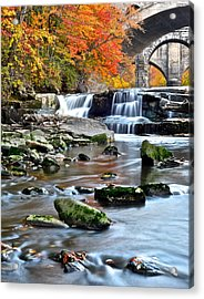 Berea Falls Ohio Acrylic Print by Frozen in Time Fine Art Photography