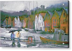 Bergen Bryggen In The Rain Acrylic Print by Joan  Jones