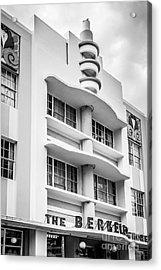 Berkeley Shores Hotel - South Beach - Miami - Florida - Black And White Acrylic Print by Ian Monk