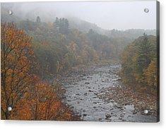 Berkshires Mohawk Trail Deerfield River Autumn Fog Acrylic Print by John Burk