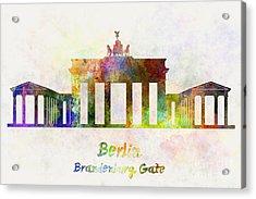 Berlin Landmark Brandenburg Gate In Watercolor Acrylic Print by Pablo Romero