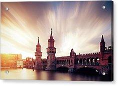 Berlin Oberbaum Bridge With Dramatic Sky Acrylic Print by Spreephoto.de