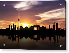 Berlin Sunset Skyline  Acrylic Print by Aged Pixel