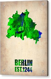 Berlin Watercolor Map Acrylic Print by Naxart Studio