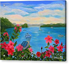 Bermuda Hibiscus - Bermuda Seascape With Boats And Hibiscus Acrylic Print by Shelia Kempf