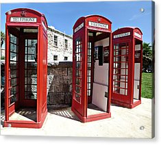 Bermuda Phone Boxes 2 Acrylic Print by Richard Reeve