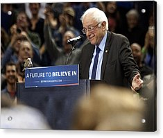 Bernie Sanders Holds Campaign Rally In Portland, Oregon Acrylic Print by Natalie Behring