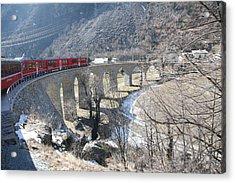 Bernina Express In Winter Acrylic Print by Travel Pics