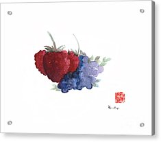 Berries Red Pink Black Blue Fruit Blueberry Blueberries Raspberry Raspberries Fruits Watercolors  Acrylic Print