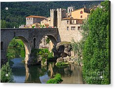Besalu A Medieval Town In Catalonia Spain Acrylic Print by Louise Heusinkveld