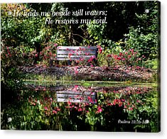 Beside Still Waters Acrylic Print by Paula Tohline Calhoun