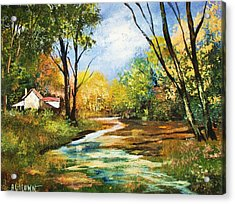 Acrylic Print featuring the painting Beside The Stream by Al Brown