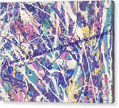 Besso Pollock Smile Quotes Acrylic Print by Marlene Rose Besso
