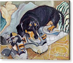 Acrylic Print featuring the painting Best Dog In The Whole World by Pattie Wall