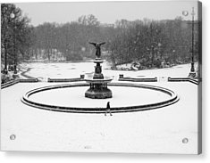 Acrylic Print featuring the photograph Bethesda Angel In Snow by Dave Beckerman