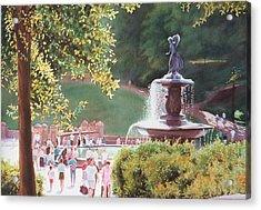 Bethesda Fountain Acrylic Print by Daniel Dayley