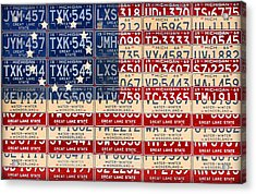 Betsy Ross American Flag Michigan License Plate Recycled Art On Red Board Acrylic Print