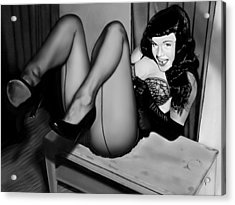 Bettie Page Acrylic Print by Andrew Harrison