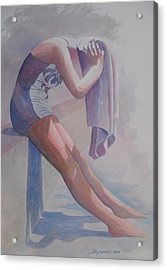 Betty Heim At Forest Pool  Acrylic Print