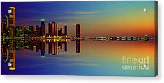 Acrylic Print featuring the photograph Between Night And Day Chicago Skyline Mirrored by Tom Jelen
