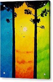 Between The Pines Acrylic Print by Kyle  Brock