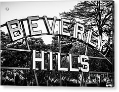 Beverly Hills Sign In Black And White Acrylic Print