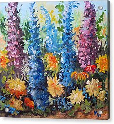 Acrylic Print featuring the painting Bev's Garden by Megan Walsh