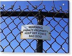 Beware Sign Acrylic Print by John Ricard jr