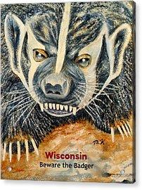 Beware The Badger Acrylic Print by Thomas Kuchenbecker