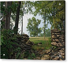 Beyond The Rock Fence Acrylic Print by Roger Potts