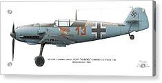 Bf 109e-1 Oberfeldwebel Kurt Ubben 6./tr.gr. 186. Wangerooge 1940 Acrylic Print by Vladimir Kamsky