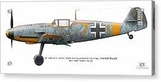 Bf 109f-4/r-1 W.nr.13325. Staffelkapitan 9./jg 3 Oblt. Viktor Bauer. July 1942. Nowy-cholan Acrylic Print by Vladimir Kamsky